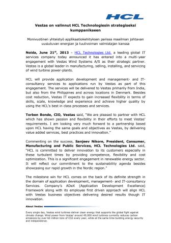 Vestas on valinnut HCL Technologiesin strategiseksi kumppanikseen