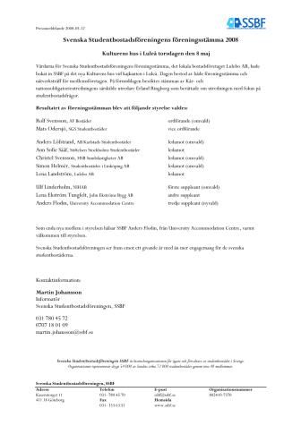 Svenska Studentbostadsföreningens årsstämma 2008
