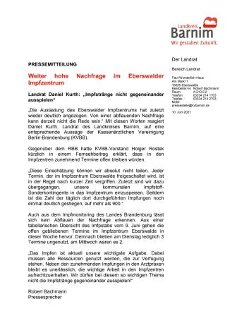 Weiter hohe Nachfrage im Eberswalder Impfzentrum