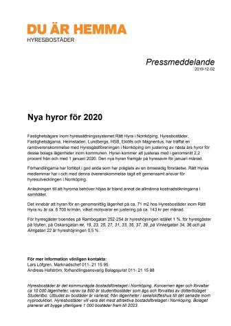 Nya hyror för 2020