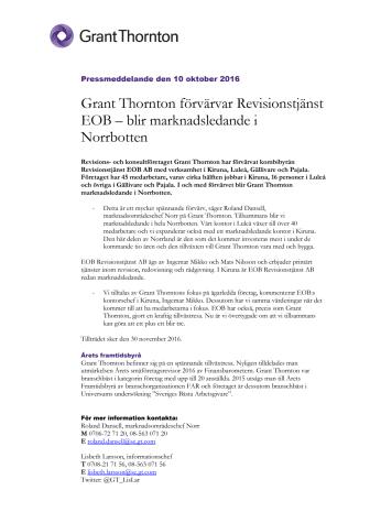 Grant Thornton förvärvar Revisionstjänst EOB – blir marknadsledande i Norrbotten