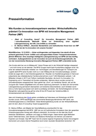 Wie Kunden zu Innovationspartnern werden: WirtschaftsWoche prämiert Co-Innovation von BPW mit Innovative Management Partner (IMP)