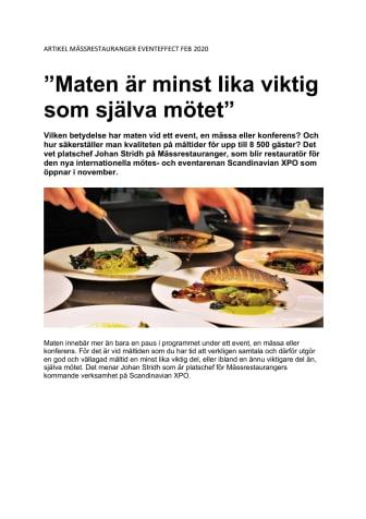 """""""Maten är minst lika viktig som själva mötet"""" - Mässrestauranger blir restauratör på Scandinavian XPO"""