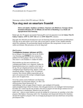 Samsungs nyheter från IFA-mässan i Berlin: Nya steg mot en smartare framtid