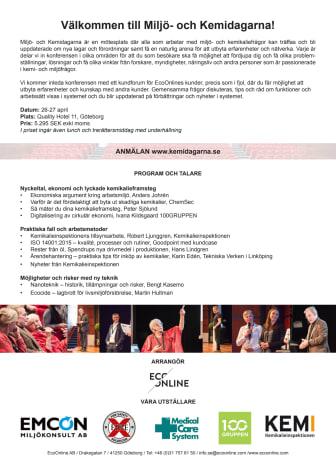 Ekonomi, praktiska fall och ny teknik i fokus under Miljö- och Kemidagarna den 26-27 april