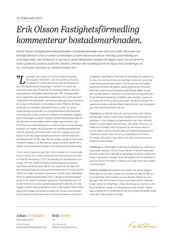 Erik Olsson Fastighetsförmedling kommenterar bostadsmarknaden 14 februari 2017