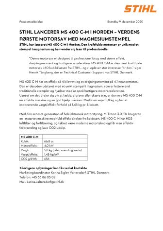 STIHL LANCERER MS 400 C-M I NORDEN – VERDENS FØRSTE MOTORSAV MED MAGNESIUMSTEMPEL