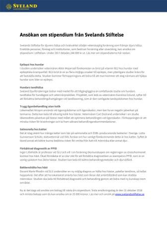 Ansök om stipendium från Sveland Stiftelse!