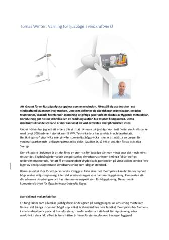 Tomas Winter: Varning för ljusbåge i vindkraftverk!