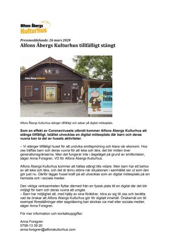 Pressmeddelande Alfons Åbergs Kulturhus tillfälligt stängt