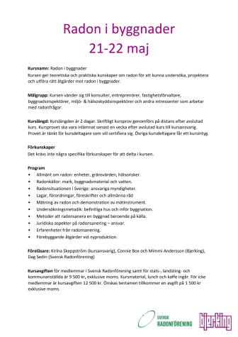 Radonkurs 21-22 maj i Uppsala - Sista anmälninsdag 30 april