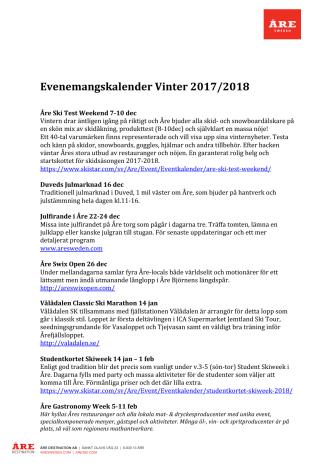 Eventkalender Vinter 2017-2018
