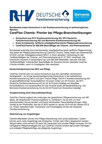 Bundesweit erstes Konsortium in der Krankenversicherung im tarifvertraglichen Rahmen - CareFlex Chemie: Pionier bei Pflege-Branchenlösungen