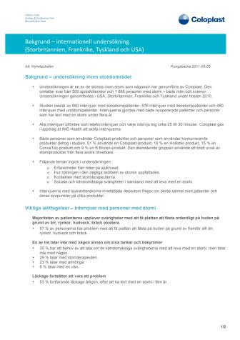 Bakgrundsinformation - Studie om stomi och läckage