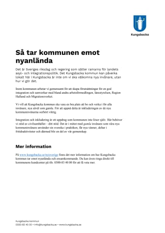 Faktablad: Så tar kommunen emot nyanlända