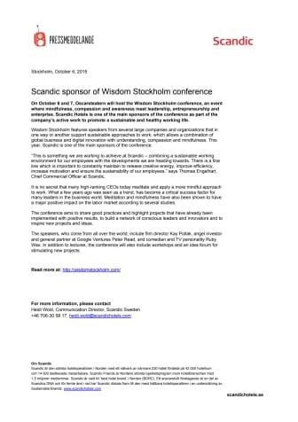 Scandic sponsor of Wisdom Stockholm conference