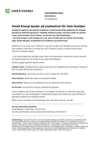 Umeå Energi bjuder på popfestival för hela familjen
