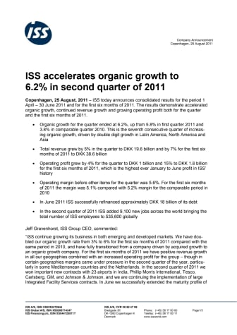 ISS accelerates organic growth to 6.2% in second quarter of 2011