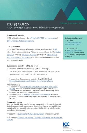 ICC: Näringslivsengagemang under COP25