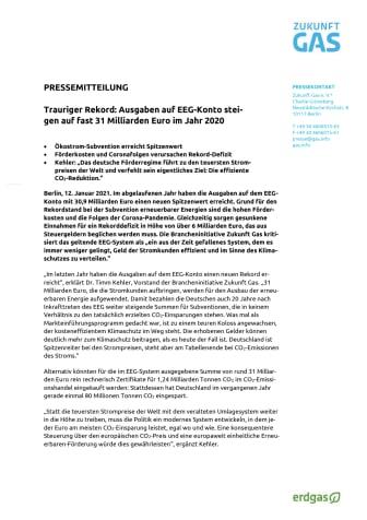 Trauriger Rekord: Ausgaben auf EEG-Konto steigen auf fast 31 Milliarden Euro im Jahr 2020