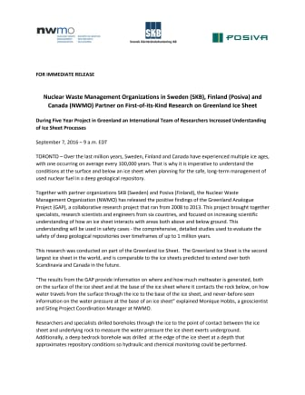 Press Release Canada, Finland and Sweden