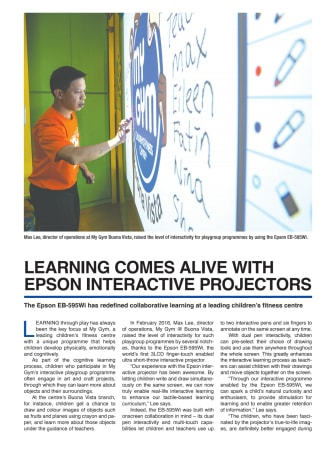 LEARNING COMES ALIVE WITH EPSON INTERACTIVE PROJECTORS