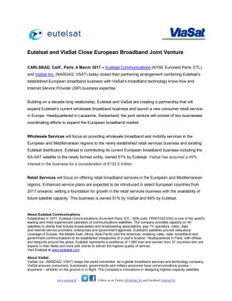 Eutelsat and ViaSat Close European Broadband Joint Venture