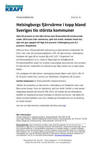 Helsingborgs fjärrvärme i topp bland Sveriges tio största kommuner