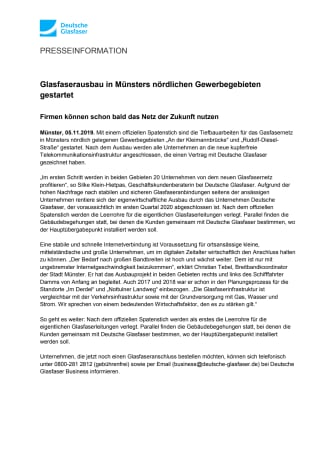 Glasfaserausbau in Münsters nördlichen Gewerbegebieten gestartet