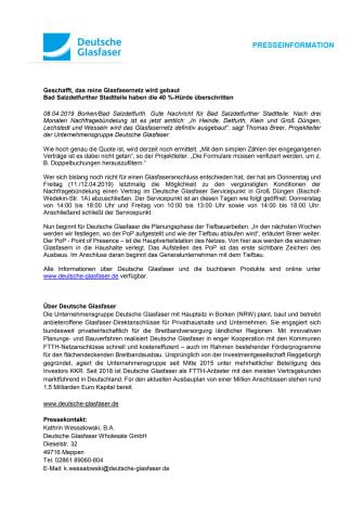 Glasfasernetz wird gebaut  |  Bad Salzdetfurther Stadtteile haben die 40 %-Hürde überschritten
