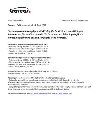 Traveas: Delårsrapport Juli till Sept 2012