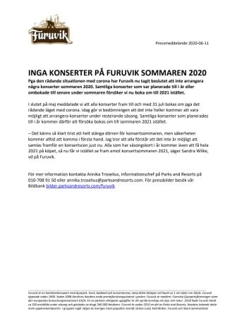 Inga konserter på Furuvik sommaren 2020