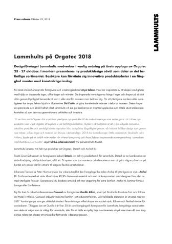 Lammhults på plats i Köln under Orgatec, 23-27 oktober