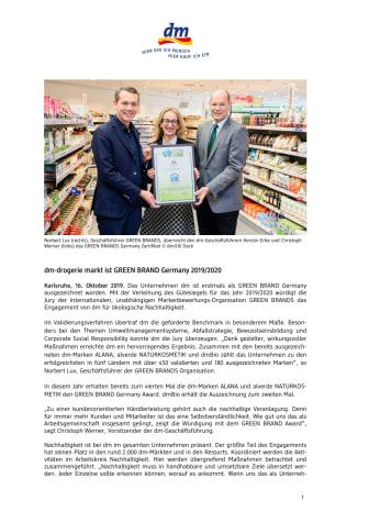 dm-drogerie markt ist GREEN BRAND Germany 2019/2020