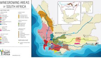 Kart vinregioner i Sør-Afrika