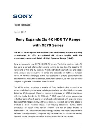 Sony udvider deres udvalg af 4K HDR tv'er med ny XE70-serie