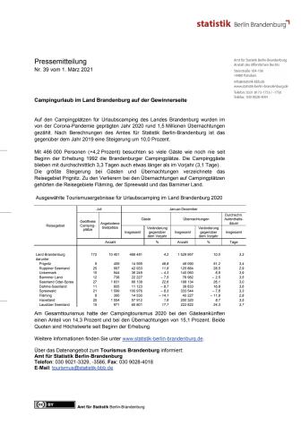 Statistik Camping 2020: Pressemitteilung des Amtes für Statistik Berlin-Brandenburg