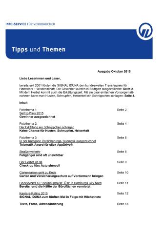 Tipps und Themen 10-2015