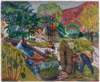 Nikolai Astrup: Kvennagong / Milling Weather, fargetresnitt, 1916