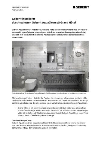 Geberit installerar duschtoaletten Geberit AquaClean på Grand Hôtel