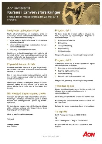 Invitation til Erhvervsforsikringskursus i Kolding i maj 2014