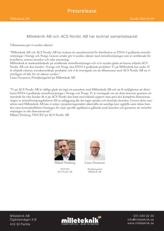 Milleteknik AB och ACS Nordic AB har tecknat samarbetsavtal