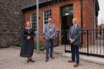 THI Project Manager Philippa Martin, Mayor of MEA Cllr William McCaughey and Mukesh Sharma MBE DL, HLF NI Chair