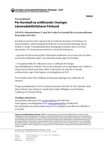Per Kornhall ny ordförande i Sveriges Läromedelsförfattares Förbund