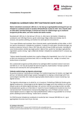 Arbejdernes Landsbank lukker 2017 med historisk stærkt resultat