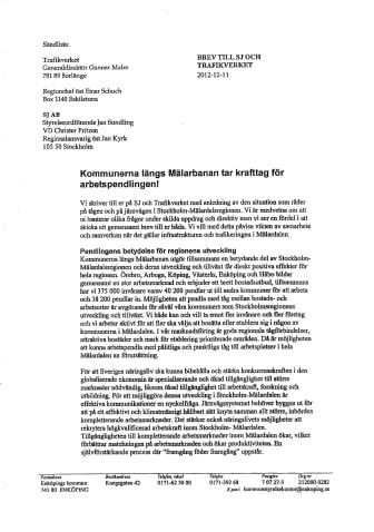 Brev till SJ och Trafikverket om krafttag för arbetspendlingen