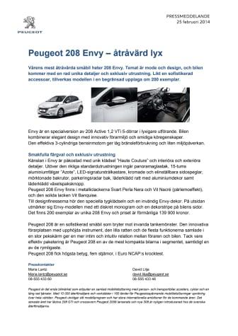 Peugeot 208 Envy – åtråvärd lyx