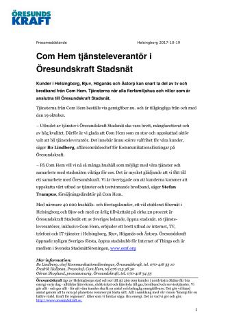 Com Hem tjänsteleverantör i Öresundskraft Stadsnät