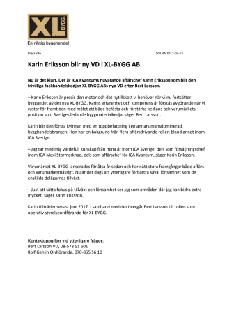 Karin Eriksson blir ny VD i XL-BYGG AB