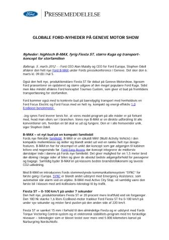 GLOBALE FORD-NYHEDER PÅ GENEVE MOTOR SHOW